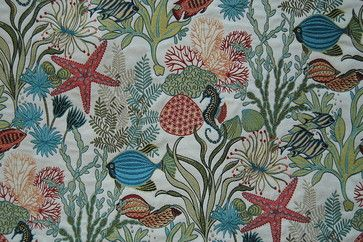 Holy Mackerel Aqua Fabric beach-style-upholstery-fabric