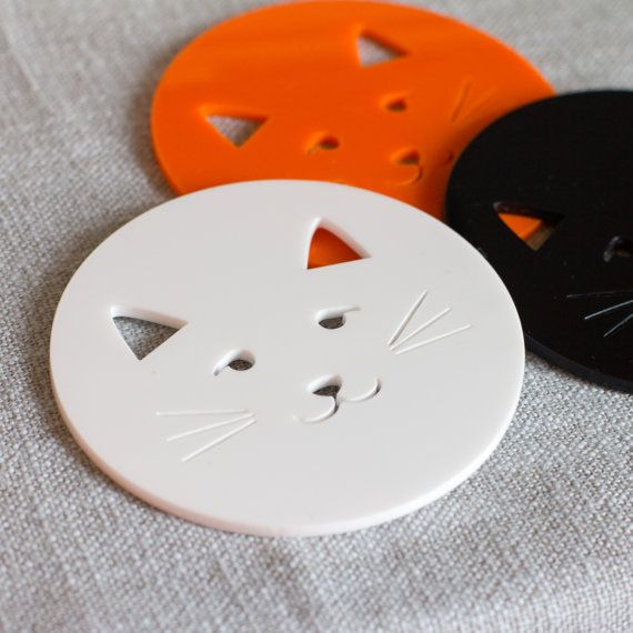 Kitty cat laser cut contemporary coasters by finestimaginary, $24.00