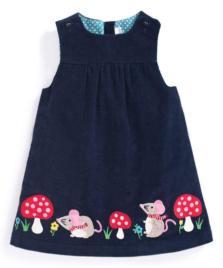 This JoJo Maman Bébé Navy Mouse Appliqué Pinafore Dress - Infant, Toddler & Girls by JoJo Maman Bébé is perfect! #zulilyfinds