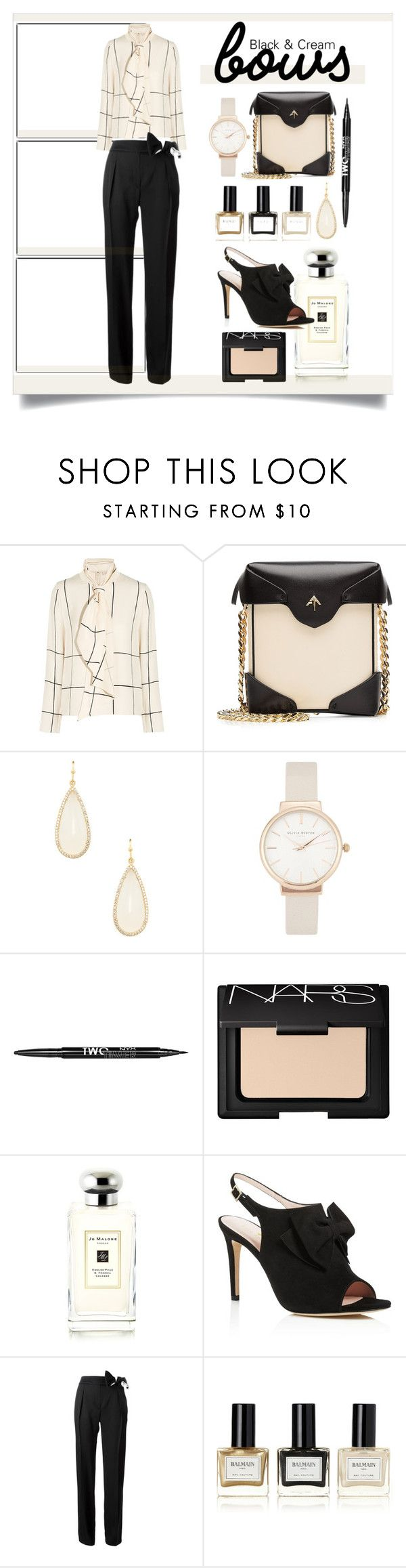 """""""Bows in Black & Cream"""" by elimarga ❤ liked on Polyvore featuring Tory Burch, MANU Atelier, Olivia Burton, Charlotte Russe, NARS Cosmetics, Jo Malone, Kate Spade, Lanvin and Balmain"""