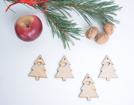 set of 10 wooden Christmas tree shapes, decor gift packaging winter season holiday blank shape table tag set DIY unfinished laser cut cutout