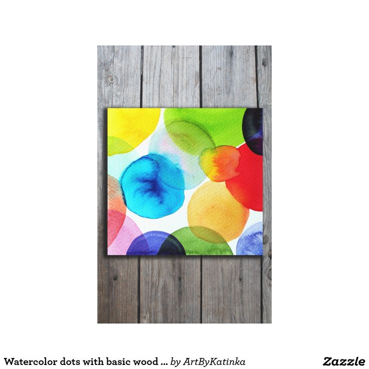 Watercolor dots with basic wood print on canvas