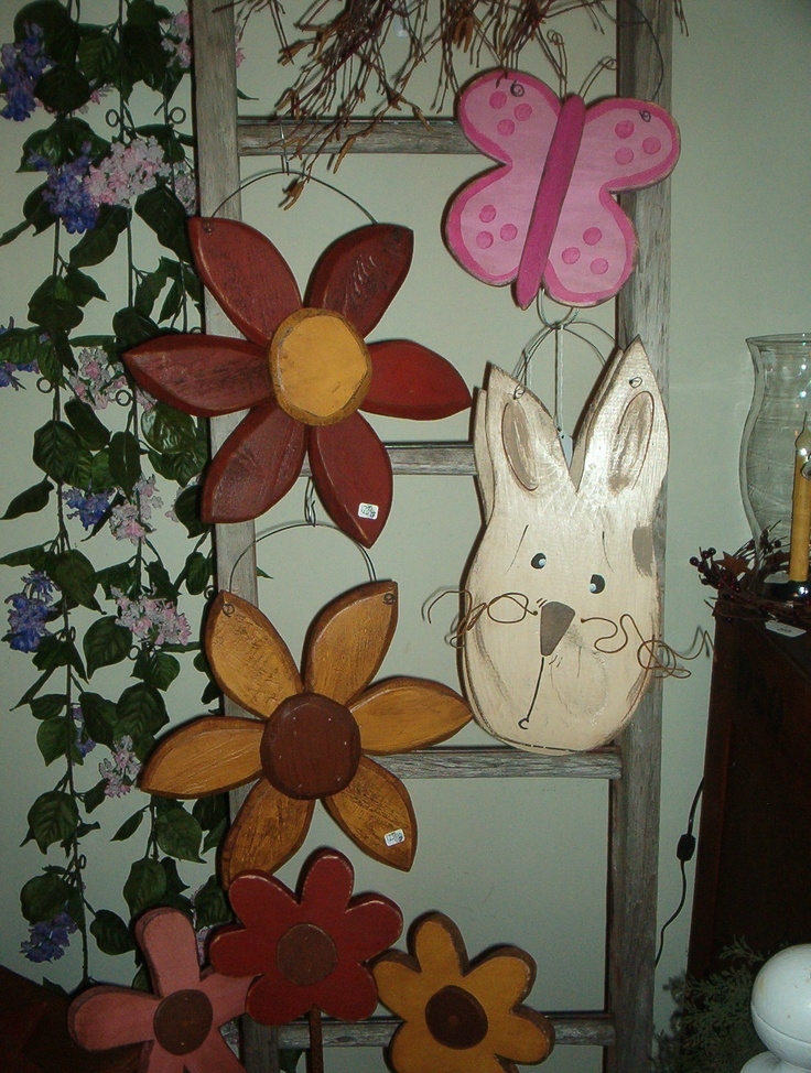 Hand crafted wood flowers, rabbit & butterfly