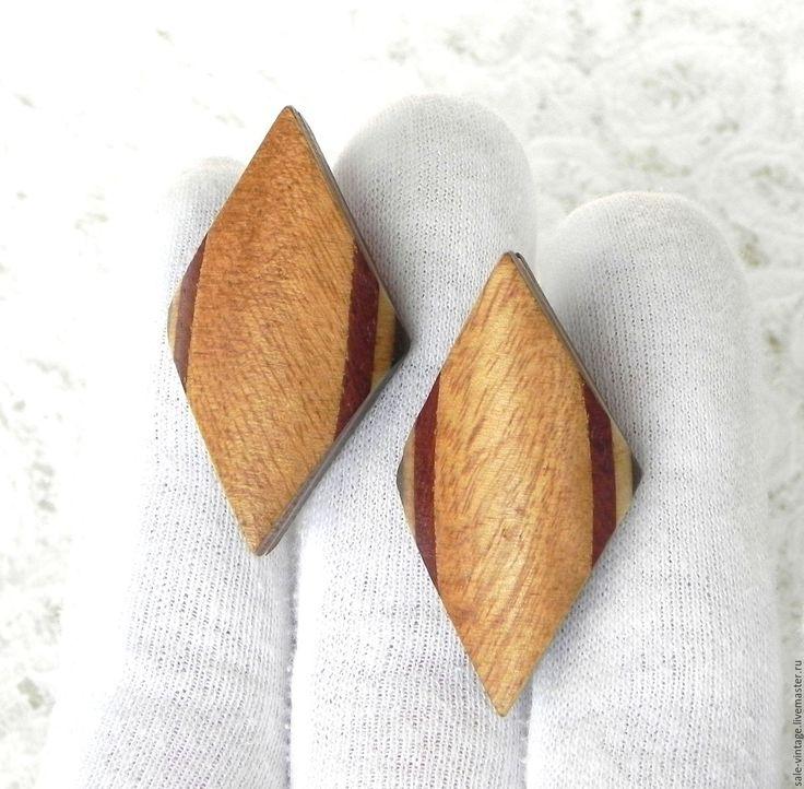 Купить Клипсы Ромбики,дерево,деревянные украшения,винтажная бижутерия - винтажные украшения, винтажное украшение