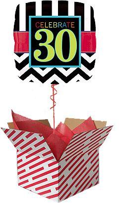30th Birthday Helium Balloons - Celebrate 30 Square Birthday Balloon Gift