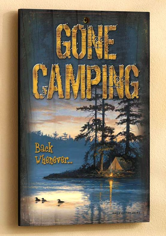 This Gone Camping Wooden Cabin Sign is great for any cabin wall!