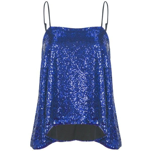 HaoDuoYi Womens Sparkly Mermaid Sequin Spaghetti Strap Crop Top ($17) ❤ liked on Polyvore featuring tops, cami tank, sparkly crop top, cami crop top, blue sequin top and crop tank