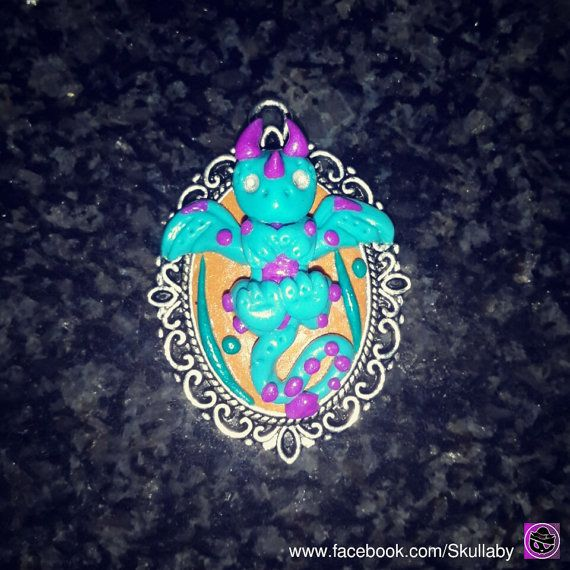 Baby Dragon Cameo  Fantasy Creature  Mythically Cute  by Skullaby, #etsy #forsale #claycreation #clay #creating #polymerclaycharms #premoclay #premo #sculpting #collectables #skullaby #polymerclaycharm  #sculpt #selling #sell #customorders #dragons #polymerclay #dragon #littledragon #keepsake #fantasy #cameo #geekery