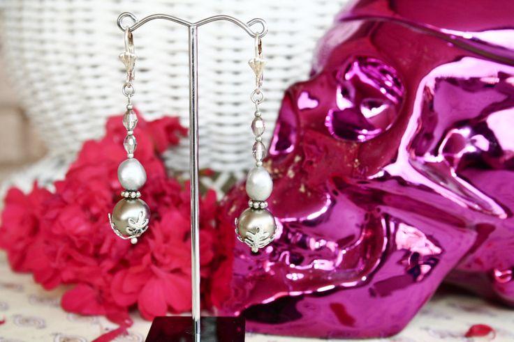Spanish Bridal Freshwater Pearl Shell Pearl Crystal Drop Earrings by BleakDesigns on Etsy