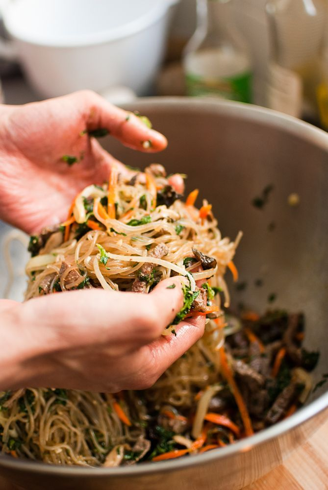 Japchae (Korean cellophane noodles with vegetables and beef) via @brhau
