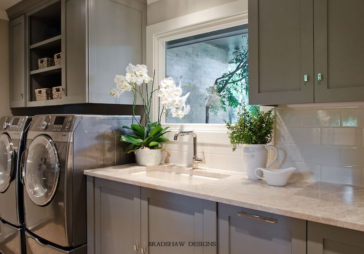 Bradshaw Designs - galley laundry room, gray cabinets, cream marble countertops