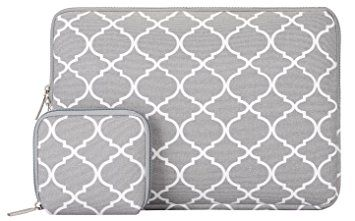 MOSISO Tasche Sleeve Hülle für 13-13,3 Zoll MacBook Pro, MacBook Air, Notebook Quatrefoil Stil Canvas Gewebe Laptophülle Schutzhülle Laptoptasche Notebooktasche mit Kleinen Fall, Grau