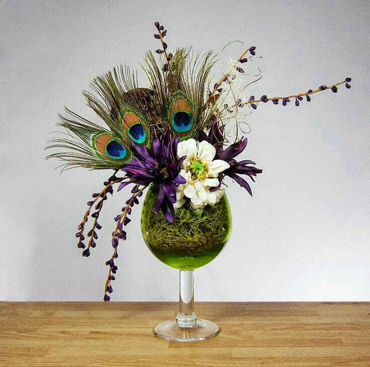 Peacock Feather Floral Arrangement with Purple Flowers