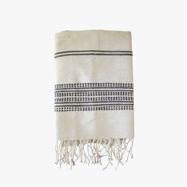 Our Grey Stripes Hand Towel is as versatile as it is beautiful. Soft, natural hand towels with ribbed ends are a classic complement to any style.