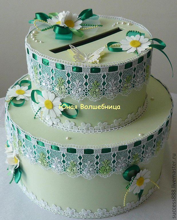 """Купить Сундук для денег в виде торта """"Ромашки"""" - сундук для денег, свадебный сундучок, торт"""