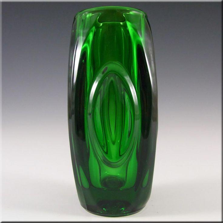 Rosice Sklo Union Green Glass Lens Vase Rudolf Schrötter - £14.99