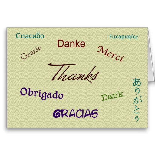Thank You Card in ten languages