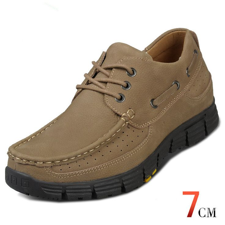 X1870-5 Casual Men'S Genuine Nubuck Leather Shoes Increase Height Taller 7Cm/2.75 Inches, Comfortable Antislip Rubber Outsole