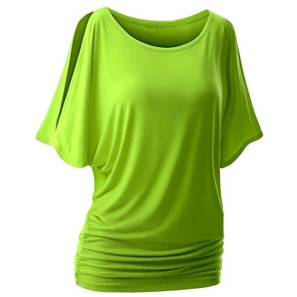 Oyanus Women's Round Neck Batwing Sleeve Off Shoulder Dolman T Shirt... ($15) ❤ liked on Polyvore featuring tops, blouses, green cami, off the shoulder tops, dolman blouse, off shoulder tops and off shoulder dolman top