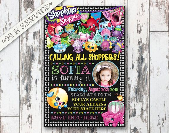 Shopkins Chalkboard Birthday Invitation Design, Shopkins Birthday, Shopkins Invitation, Shopkins Birthday Chalkboard