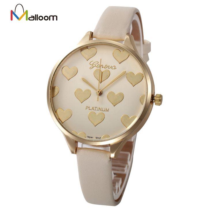 2016 Горячей Продажи, Женева Женщины Часы Платье Высокого Качества Часы Сердце Pattern Искусственной Кожи Кварцевые Аналоговые Часы Relógio Feminino #women, #men, #hats, #watches, #belts, #fashion