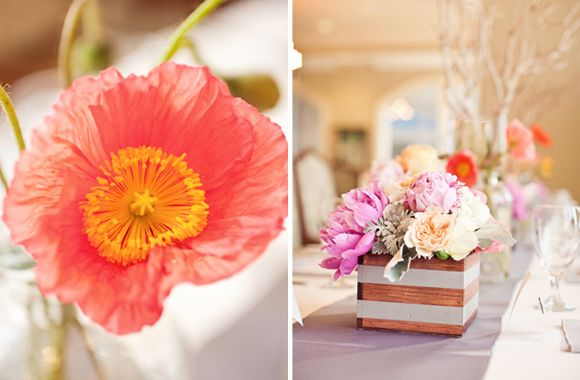 Jeni + Nate « Southern Weddings Magazine: Wood, Squares Centerpieces, Square Centerpiece, Southern Weddings, Stripes Bridesmaid, Gray Stripes, White Stripes, My Style, Southern Wedding Magazines