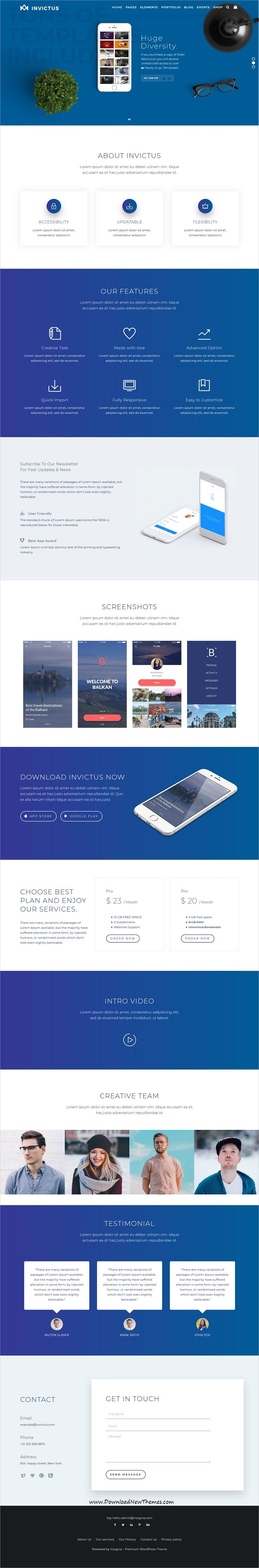 Invictus is clean and modern design responsive multipurpose #WordPress template for #app #landingpage website with 50+ niche homepage layouts and 250 UI blocks to live preview & download click on Visit