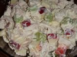 Waldrorf Salad 1 1/2 teaspoons     lemon juice         1     granny smith apple, diced          1     gala apples, diced         1/2 cup     cranberries, dried          1/3 cup   chopped   pecans   (candied)        1/4 cup     celery, minced           1 Combine sour cream, mayonnaise, sugar, and lemon juice in a medium bowl and whisk until sugar is dissolved.