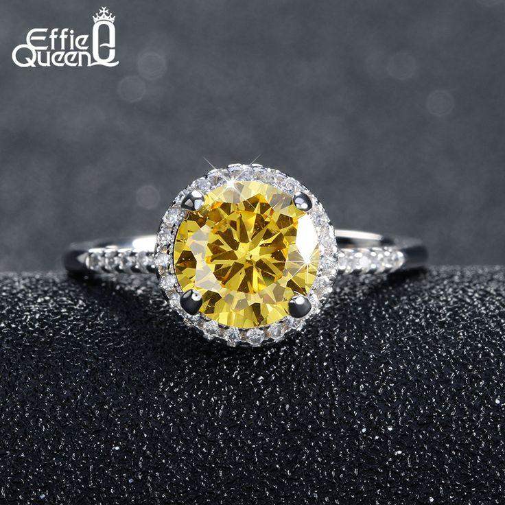 Effie queen luxe hearts & arrows cut geel zirkoon ring maat 5 6 7 8 9 mode vrouwen trouwringen groothandel dr54