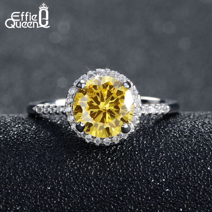 Effie Queen Luxury Hearts&Arrows Cut  Yellow Zircon Ring Size 5 6 7 8 9 Fashion Women's Wedding Rings Wholesale DR54