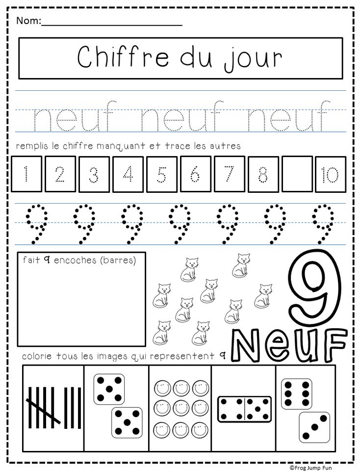 Number of the day pack with 3 pages for each number from 1 to 10