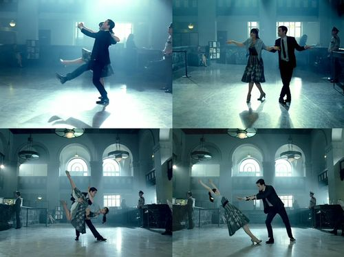 """Zooey Deschanel and Joseph Gordon-Levitt, dancing. """"Why Do You Let Me Stay Here?"""" - She and Him"""