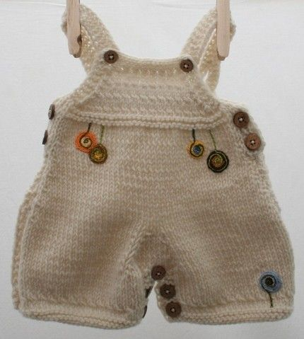 knitted baby overalls