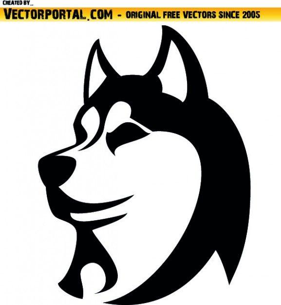 husky Silhouette | Cabeza de perro husky Vector Gratis