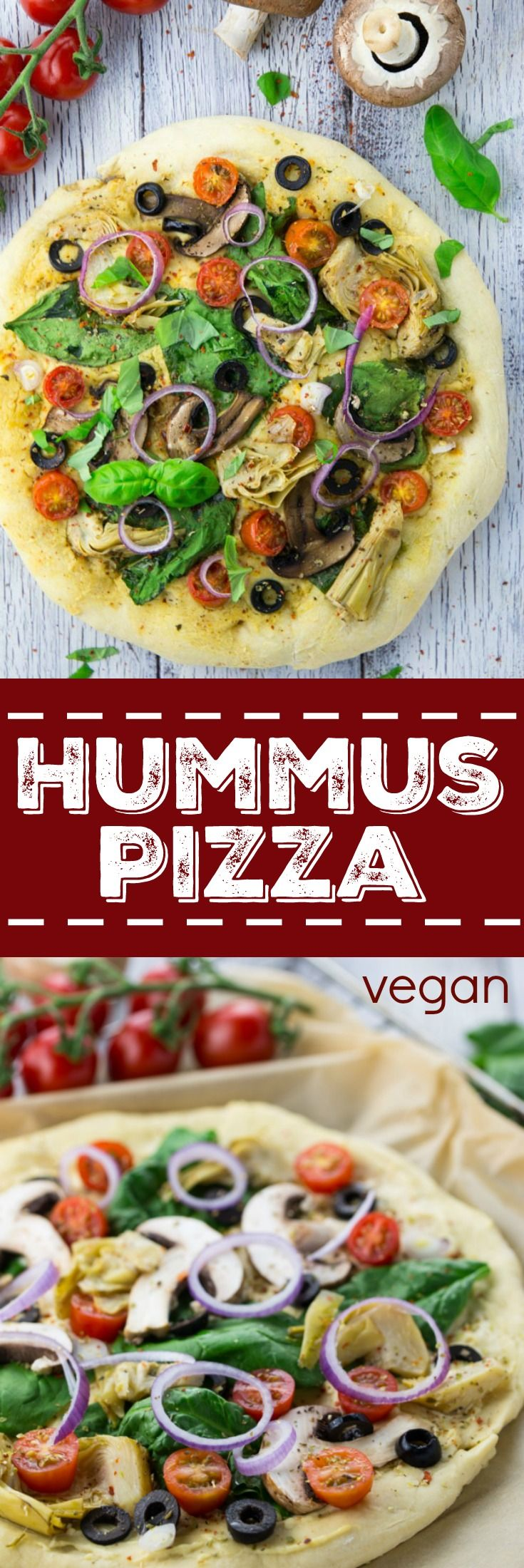 I love hummus and I love pizza. So I thought why not just try hummus pizza?! This vegan pizza with spinach, olives, and artichokes is one of my favorites!