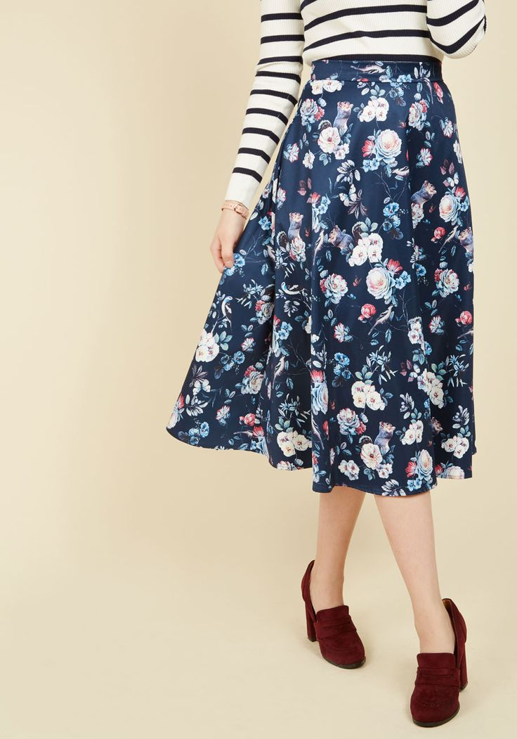 Foraging Fashionista Midi Skirt. Your hunt for a covertly quirky outfit element bears playful fruit when you discover this blue skirt! #blue #modcloth