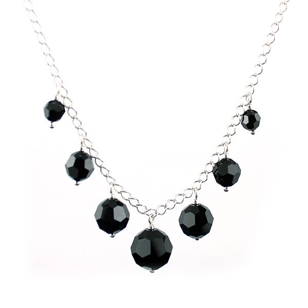 Black round Swarovski Crystals and silver chain. Classic modest elegance.