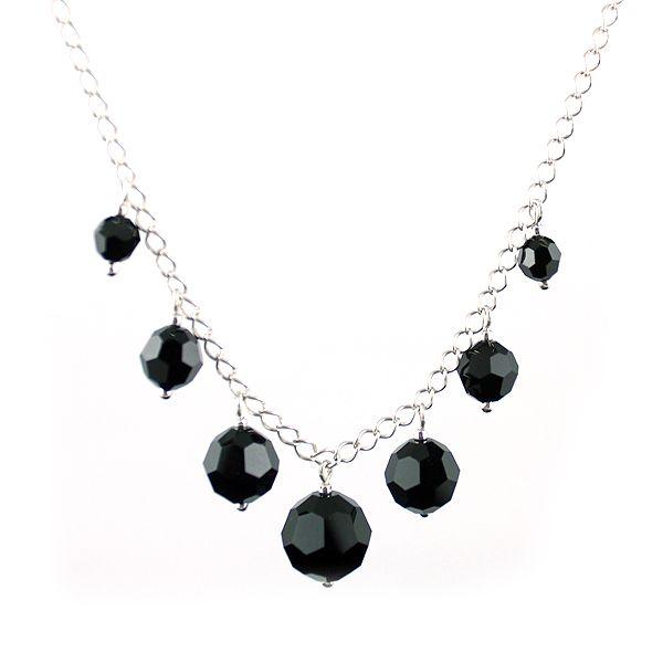 Black round Swarovski Crystals and silver chain. Classic modest elegance.