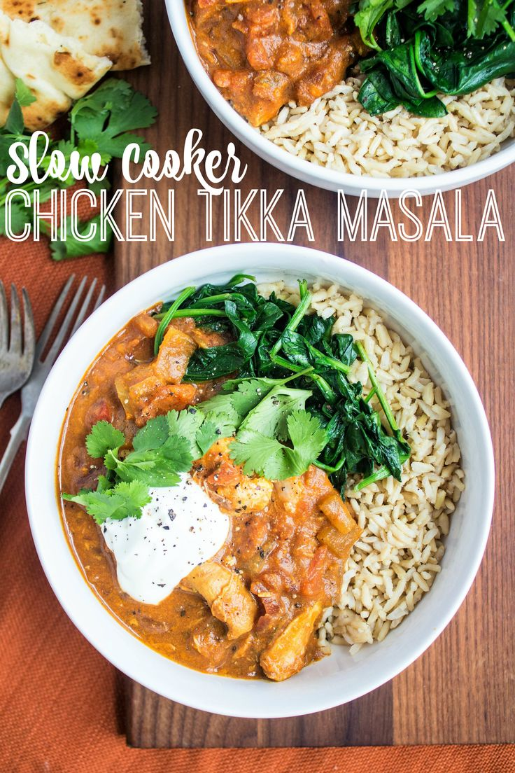 Easy & Healthy Slow Cooker Chicken Tikka Masala - rich, flavorful, and perfect for weeknight dinners! | healthy dinner ideas | healthy slow cooker recipes | healthy chicken tikka masala recipe | easy dinner recipes | easy chicken recipes | slow cooker chicken recipe |
