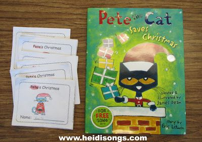 Pete the Cat Saves Christmas Freebies and Book Review! | Heidi Songs