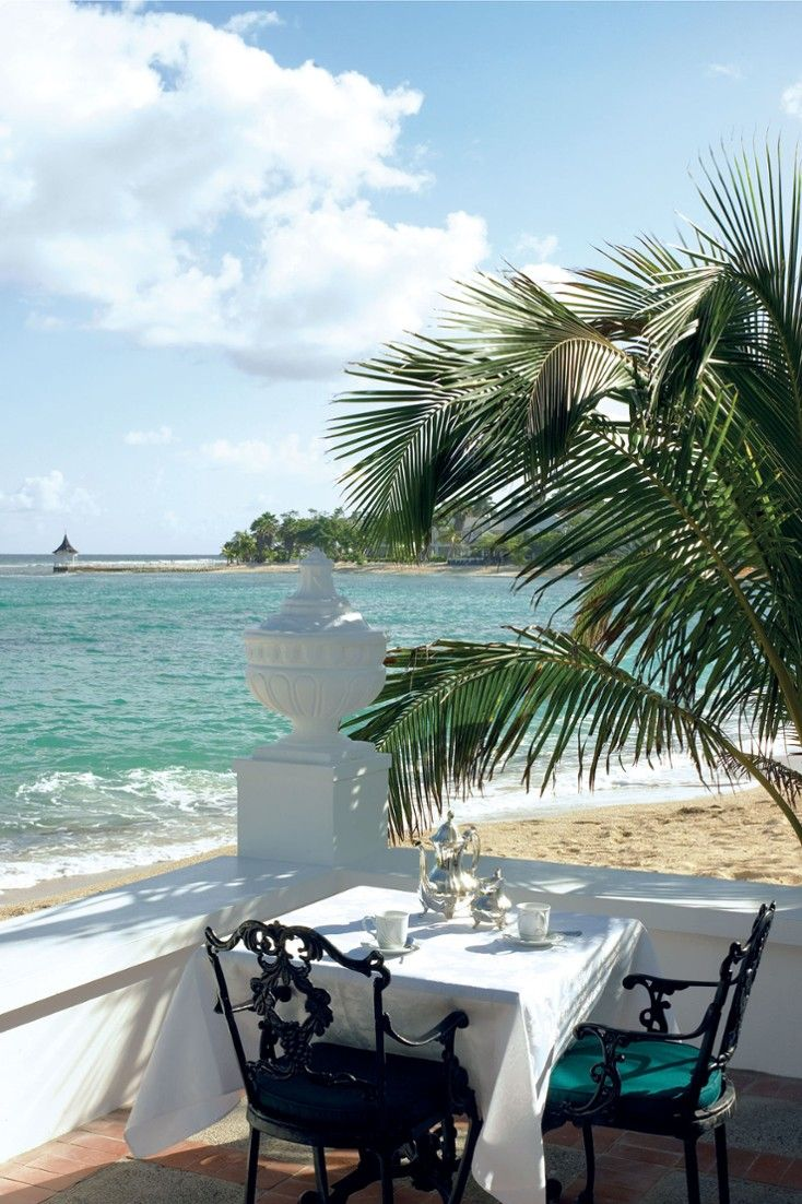 Enjoy a meal on the terrace with water views. Half Moon, Montego Bay, Jamaica