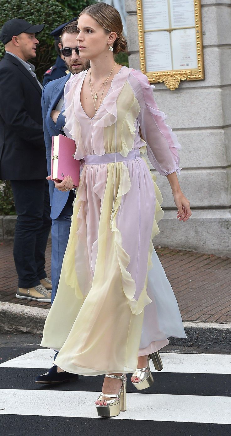 Eugenie Niarchos in a colorful Valentino Dress and pink Olympia Le-Tan bag