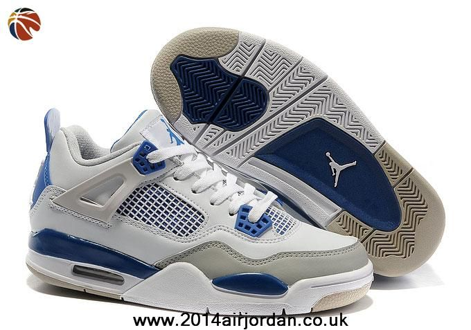 Fast Shipping To Buy White/Military Blue-Neutral Grey Women Air Jordan 4 Retro Outlet