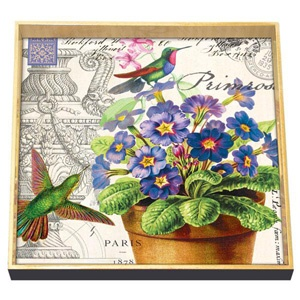Exceptionnel Michel Design Works Primrose Hummingbirds Square Decoupage Tray