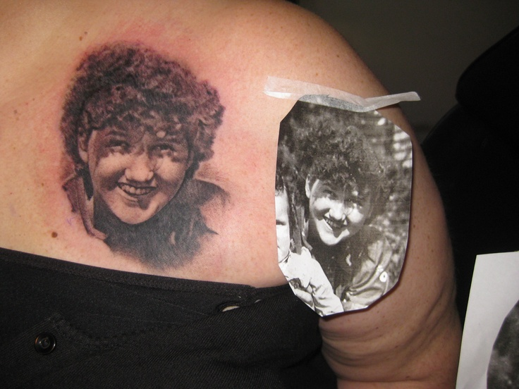Candy with a new tattoo of her mom, over her heart.  By Jamie Mackay - Sacred Temple Tattoo