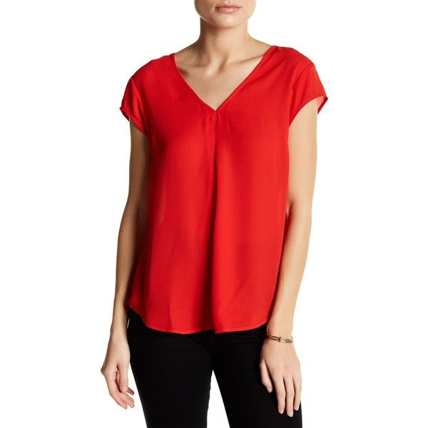 DR2 by Daniel Rainn Cap Sleeve V-Neck Blouse (Petite) featuring polyvore, women's fashion, clothing, tops, blouses, petite, red bloom, v neck strappy top, spaghetti-strap tops, petite tops, cap sleeve top and v neck blouse