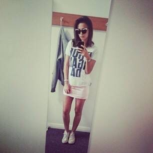 How great dose made in Chelsea star Lucy Watson look in our Westwood T-Shirt and Escada skirt? Stocked at our shop at Boxpark , unit 11
