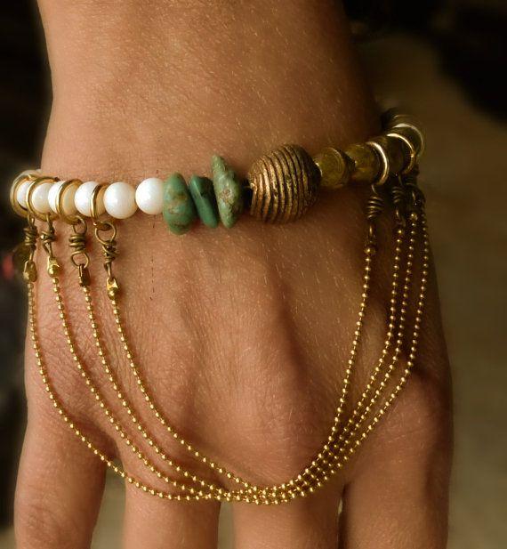 Yoga bracelet  hand piece Slave braceletBuddha by BeadStonenSkin