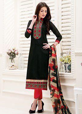Black Chanderi Cotton Straight Suit