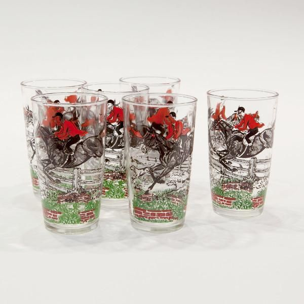 "Set of Six ""Steeple Chase"" Cocktail Glasses"